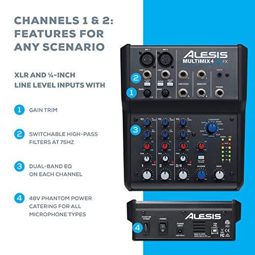 Alesis MultiMix 4 USB FX – Table de Mixage de Studio Compacte à 4 Voies avec Effets et Interface...