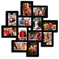 Adeco [PF0206] Decorative Black Wood Wall Hanging Collage Picture Photo Frame, 12 Openings, 4x6 by Adeco