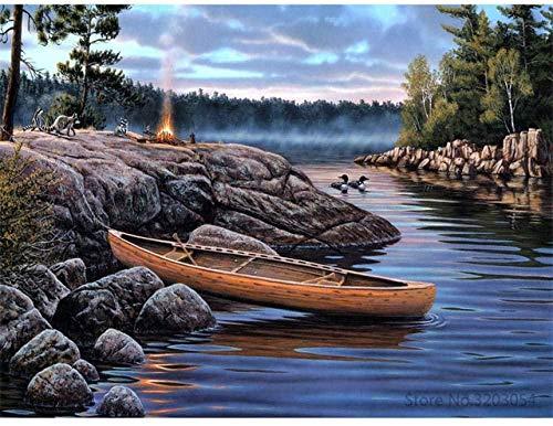 Obanban Malen nach Zahlen Holzboot am Bach DIY vorgedruckte Leinwand Ölgemälde Geschenke für Kinder Erwachsene 16 × 20 Zoll Wandkunst Home Decoration (ohne Rahmen)