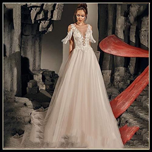 Ballkleid,brautkleid Strand-Hochzeit Kleid mit tiefem V-Ausschnitt Tüll elegante Abiye Prinzessin Einfache Braut-Kleid Robe De Soiree Customized abendkleid,abendkleider elegant für hochzeit