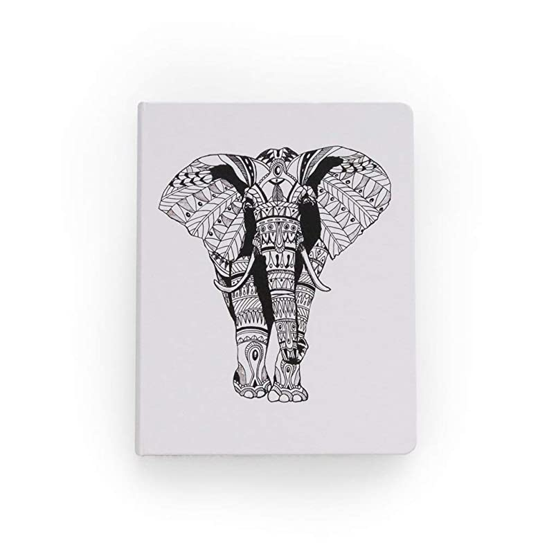 Denik, Hardcover Vegan Leather Sketchbook, 8.5 x 11 inches, 88 Blank Pages - Tribal Elephant jcygfncn653302