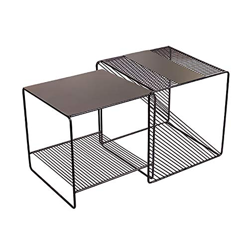 Nest of 2 Tables, Modern Square Coffee Tables for Small Spaces, Side Tables for Living Room, Black Metal Frame End Bedside Tables