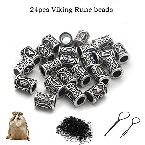 Queta Runeperlen Set mit 400 Gummibänder und Zubehör Antik DIY Haar Bartperlen (Silber)
