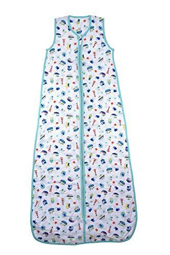 Schlummersack Kinderschlafsack für den Sommer aus Bambus-Musselin 0.2 Tog - Boote - Jungen - 3-6 Jahre/130 cm