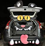 Halloween Black Cat Trunk or Treat Car Archway Garage Decoration with with Eyes, Fangs, Tongue, Nostrils and Double Side Stickers