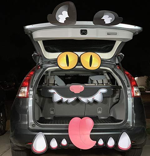 JOYIN Schwarze Halloween-Auto-Katze, Torbogen, Garage, Dekoration mit Augen, Zähnen, Zunge, Nasenlöcher und doppelseitigen Aufklebern