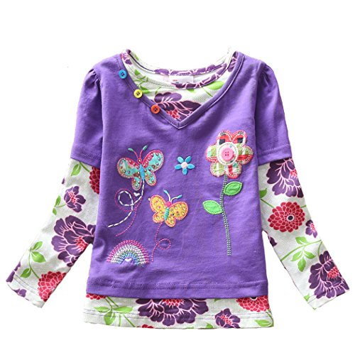 VIKITA Mädchen Baumwolle Langarm T-Shirt Top, G619 Lila, Gr. 3-4 Jahre=98cm-104cm