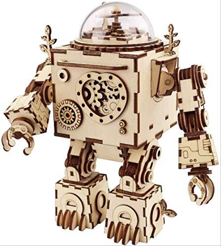 yishouhengcheng Caja De Música Montaje 3D Puzzle Caja De Música Kit De Artesanía De Madera Robot Machinarium Juguete con Luz...