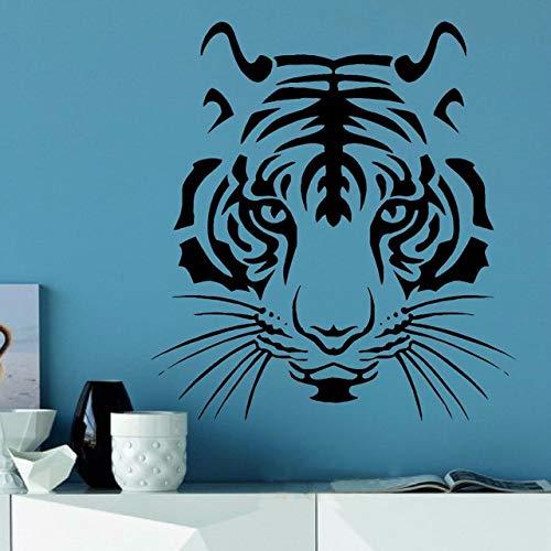 JXWH Tigerkopf wildes Tier wandaufkleber Vinyl Kunst Aufkleber Form Schablone Fenster tür raumdekoration wandbild 63x57 cm