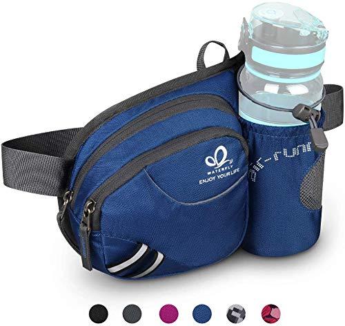 Waterfly Riñonera Running Deportiva Hombre Mujer con Soporte para Botellas Bolsa de Cintura para Correr Senderismo (Azul Oscuro)
