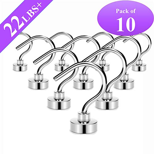 Magnetic Hooks,22LBS+ Neodymium Rare Earth Magnet Hook with 3 Layers Ni Strong Corrosion Protection,Ideal for Indoor Hanging(Silvery White,Pack of 10)