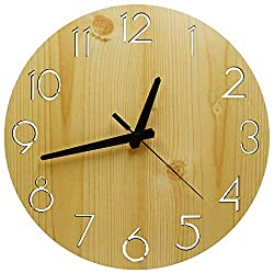 12 Numeral Design Wooden Decorative Round Wall Clock for Kitchen Bedroom Office Home Silent & Non-Ticking Large Numbers Battery Operated Indoor Clocks (S-QSZ)