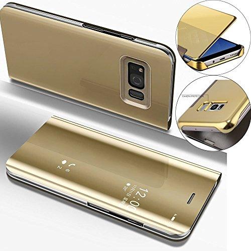 COTDINFOR Spiegel Hoes Voor Samsung Galaxy S6 Edge Hoesje Flip Slim Clear View Bright Standing Case Folding Kickstand Beschermende Cover Voor Samsung Galaxy S6 Edge Mirror PU Golden MX.