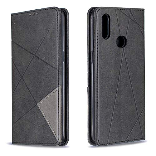 Leather Wallet Case for Galaxy A10S, Flip Case Leather with Kickstand,Folio Magnetic Closure Protective Cover with Card Slots for Samsung Galaxy A10S - DEBF090117 Black