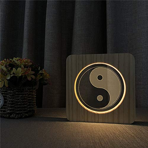 Only 1 Piece Tai Chi Knife Religious 3D USB LED Acrylic Night Light Table lamp Switch Control Childrens Room Engraving lamp
