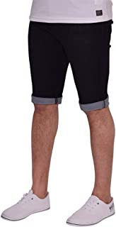 Spindle Mens Skinny Stretch Denim Shorts Rolls Turn Up Summer Jean Short