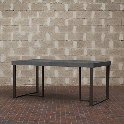 Itamoby, Table Apollo 130, Panneaux de nobilitato & Acier, Ciment/Anthracite, L.130 h.75,9 P.90