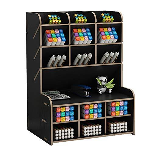 Organizador de escritorio de madera, caja de almacenamiento de escritorio, papelería, organizador de bolígrafos para suministros de oficina, hogar y escuela (B15-Negro)