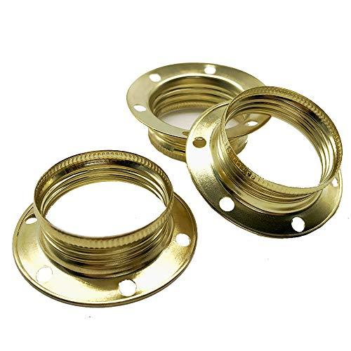 3 anillos de rosca E14 dorados de metal para portalámparas de 40 x 12,5 mm de diámetro para pantallas o elementos de cristal