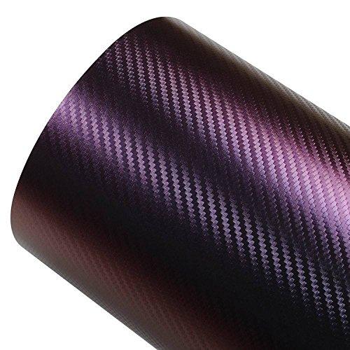 Romel - 24 [19,71€/m²] Folie Selbstklebend Hochglanz Luftkanäle Carbon 3D Chamäleon Rot + DEUTSCHE Anleitung (30cm x 150cm)