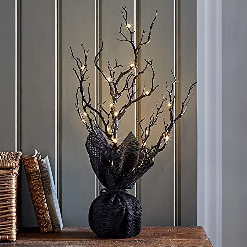 Lights4fun Albero Luminoso di Halloween Nero con LED Bianchi Caldi di 50cm a Pile per Interni