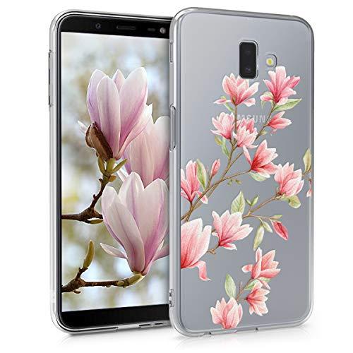 kwmobile Cover Compatibile con Samsung Galaxy J6+ / J6 Plus DUOS - Custodia in Silicone TPU - Backcover Protettiva Cellulare Magnolie Rosa/Bianco/Trasparente