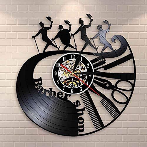 Peluquería Herramientas Reloj de Pared Peine Tijera Maquinilla de afeitar Peluquería Vinilo Record Reloj Peluquero Caballeros Reloj Decorativo Reloj de Pared