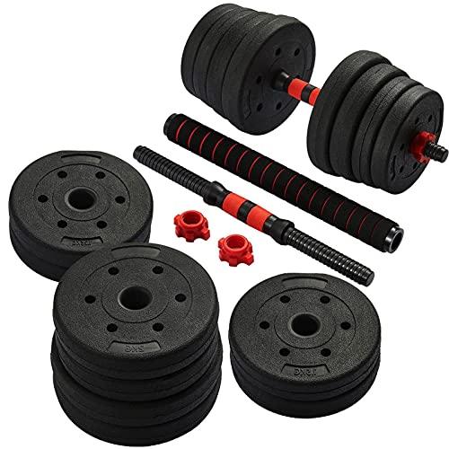 Yusheng Juego de pesas de 20 kg/30 kg/40 kg, barra de pesas con cierres de estrella con mango de conexión, juego de mancuernas cortas de plástico