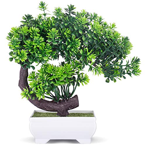 COCOBOO Artificial Bonsai Fake Plants Japanese Juniper Height 9' Fake Plant Decoration for Home Office Desk Indoor Decor