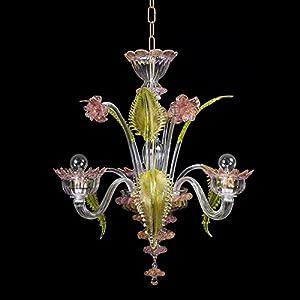 Torcè - Lámpara de techo de cristal de Murano con 3 luces