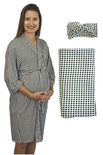 Maternity Labor Delivery Matching Robe and Swaddle Blanket and Hat or Headband Set, Hospital Bag Must Have