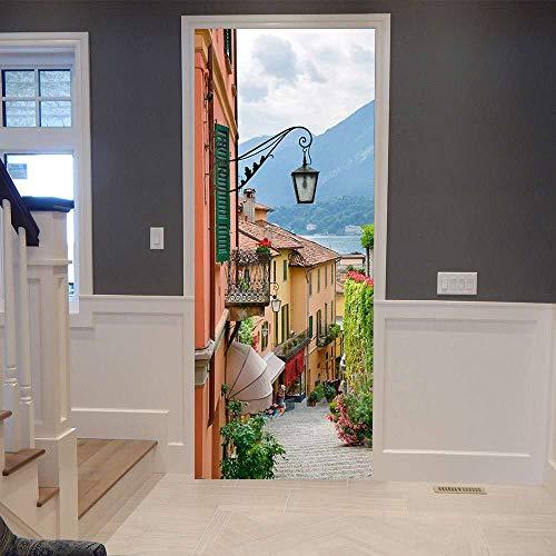 DIOPN 2019 nieuwe mode 3D deur sticker Altstad Vinyl Muurtattoo Deur schilderijen kunst slaapkamer deuren waterdichte PVC sticker DIY wooncultuur (deur sticker 77 * 200 cm)