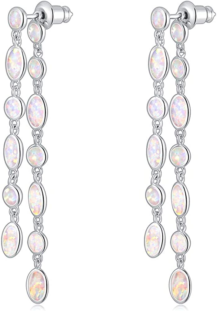 CiNily 18K White Gold Plated Opal Sutd Drop Earrings for Women Ladies Gemstone Dangle Earrings Opal Jewelry Gifts