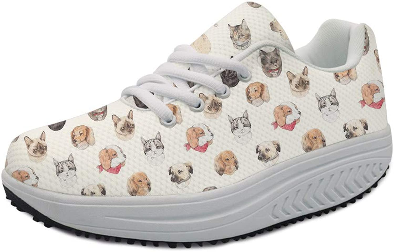 FOR U DESIGNS Air-mesh Women Swing Wedges shoes Girls Thick Platform Walking Sneakers Cute Dogs Faces Cartoon