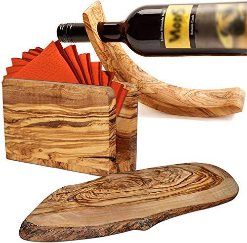 NATUREHOME Ambiente-Set: Weinflaschenhalter, Serviettenhalter und Baumscheibe