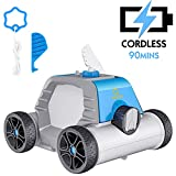 OT QOMOTOP Robotic Pool Cleaner, Cordless Automatic Pool Cleaner up to 90mins Working Time with Rechargeable Battery for In-Ground/Above Ground Swimming Pool
