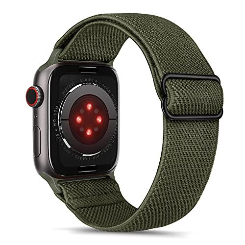 Tasikar Sport Solo Loop Compatible con Correa Apple Watch 44 mm 42 mm, Nailon Pulsera Repuesto, Correas Trenzada Elástica Ajustable para Apple Watch Serie 6/SE/5/4/3/2/1-Ejercito Verde