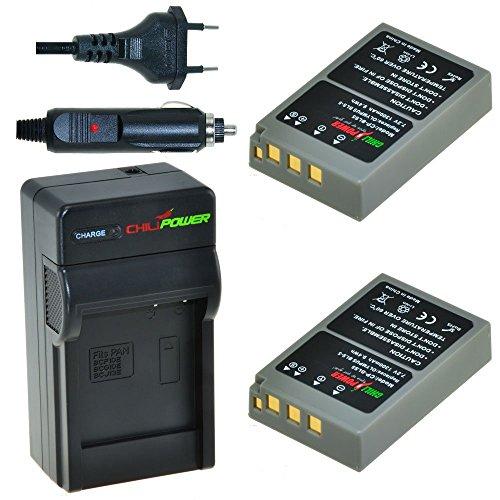 Chili Power PS de BLS5, PS de bls50, BLS de 5, BLS de 50Kit: 2x Batería + Cargador para Olympus OM-D E-M10, Pen E-PL2, E-PL5, E-PL6, E-PL7, E-PM2, Stylus 1