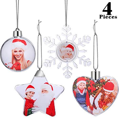 4 Stück Weihnachten Kunststoff Foto Ornamente Foto Ball Ornamente für Weihnachten Foto Wand Display Weihnachtsbaum Dekoration, 4 Arten