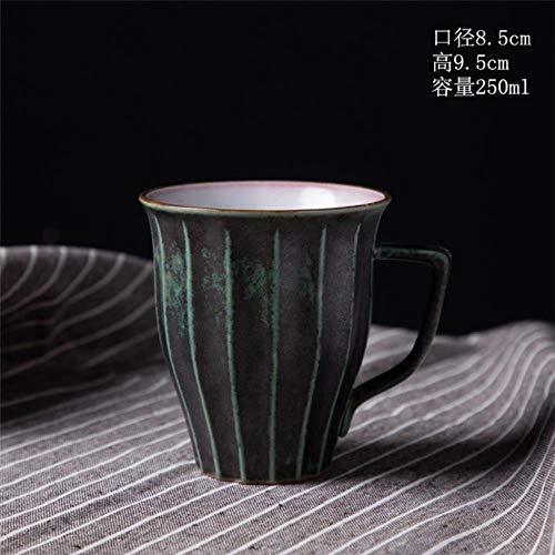HUACHENG Taza de gres japonés Taza de cerámica ins Regalo Creativo de la Taza de Agua Taza de café de cerámica Taza de café casera, 04 Verde Antiguo