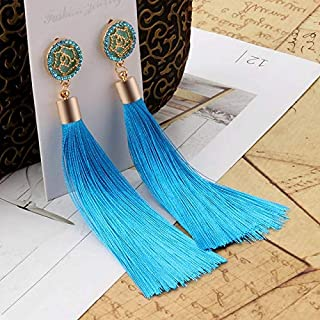 VZHEZEI Bohemian Long Tassel Vintage Statement Drop Earrings for Women(Blue) (Color : Light blue)
