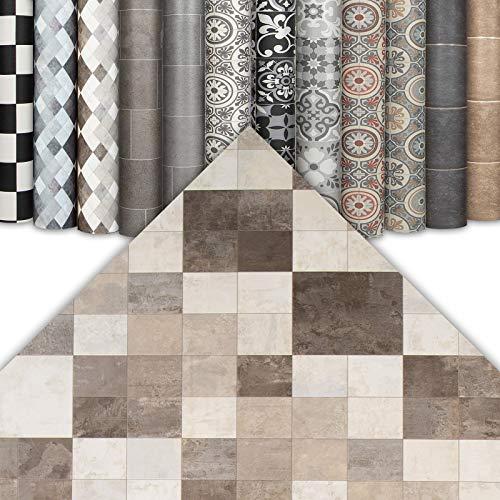 CV Bodenbelag Fliesenoptik - abriebfester PVC Bodenbelag - Top Design (100 x 200 cm, Toscana Sand)