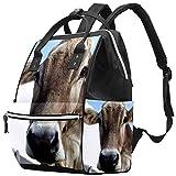 Mochila multifunción grande para pañales de bebé, mochila de viaje para mamá y papá, mira en mis ojos, vaca y curiosa