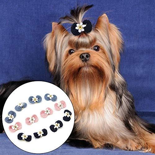 Jinyi Banda de Cuerda para el Pelo para Mascotas, 12 Piezas de Lazo para Perros, con una Banda elástica para espectáculos de Mascotas, Caminatas al Aire Libre