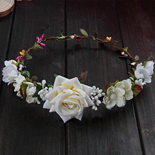 NUEEUDD Femmes Mariage Fleurs Cheveux Guirlande Couronne Bandeau Floral Rose Vacances À La Main