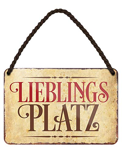 helges-shop Lieblingsplatz Blechschild - Metallschild mit Kordel und Saugnapf - Retro Deko Schild - Wanddeko Türdeko für Küche Wohnzimmer Kaminzimmer Balkon Terrasse Gartenlaube Kneipe - 18x12cm
