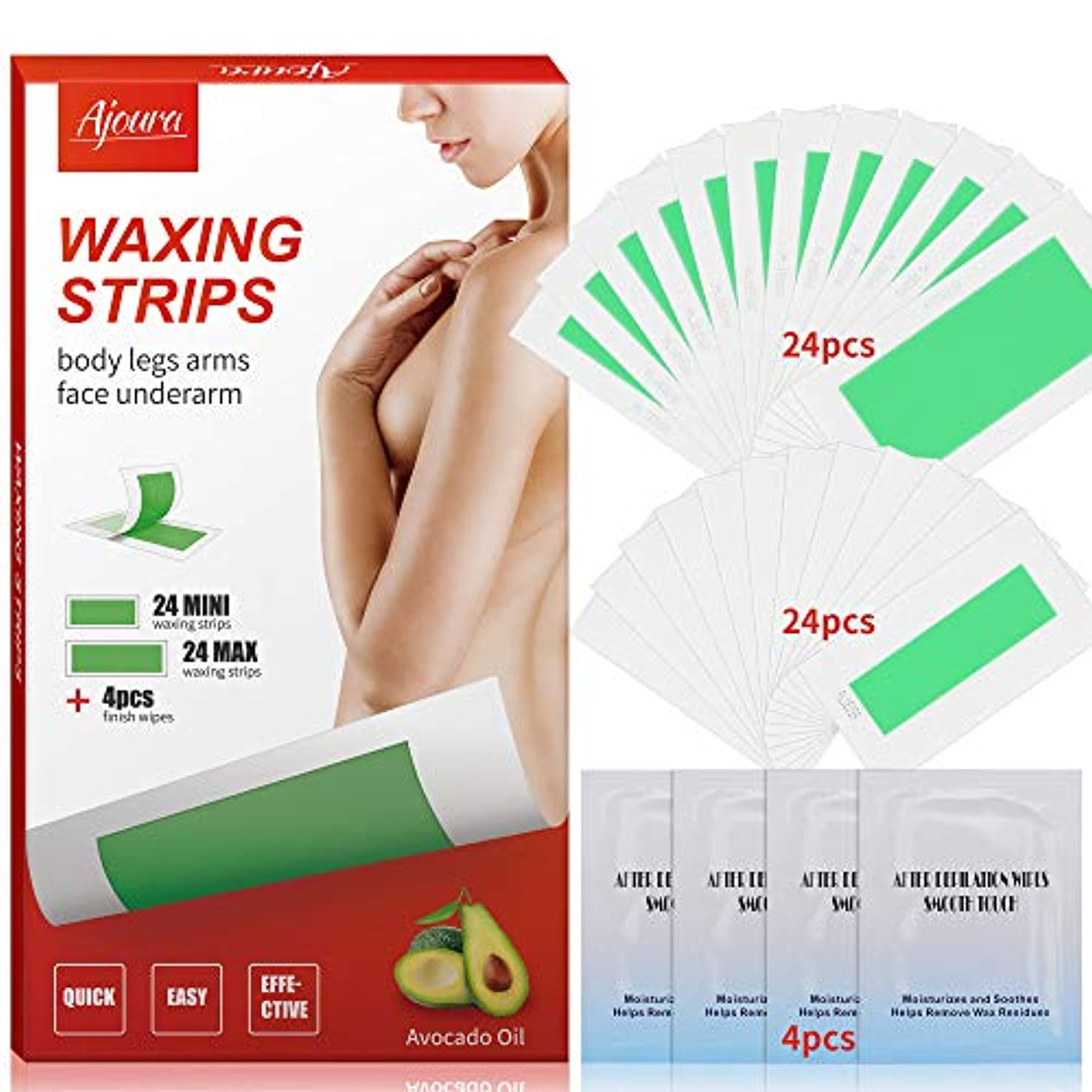Wax Strips, Ajoura Hair Removal Strips for Face Leg Eyebrow Bikini Brazilian Underarm Women men, Waxing Strips with 48 Count Double Size Cold Wax Strips & 4 Post Care Wipes