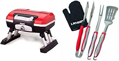 Cuisinart CGG-180T Petit Gourmet Portable Tabletop Propane Gas Grill, Red & CGS-134 Grilling Tool Set with Grill Glove, Red (3-Piece)
