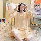 GRGFG Batas Kimonos Mujer,Camisones De Mujer Mangas Largas Amarillo Moda Sexy Bata con Borde De Encaje Camisón Suave Cuello Redondo Suelto Bata Informal Camisón Largo Ropa De Hogar De Invierno, XL