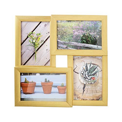 AmazonBasics Galerie-Bilderrahmen für 4 Fotos, 10 x 15 cm, Messingfarben